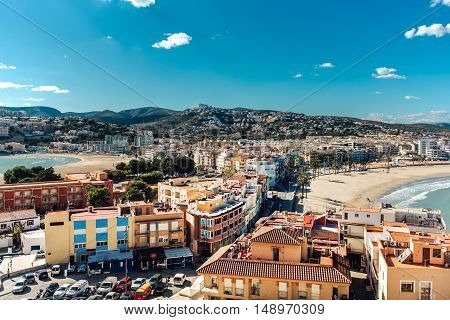 Picturesque view to the Peniscola two beaches view from the castle. Costa del Azahar province of Castellon Valencian Community. Spain