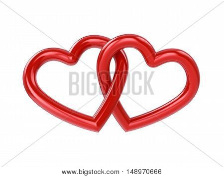 Couple of intersecting red hearts isolated on white , Marriage , 3d illustration