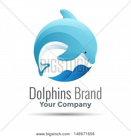 dolphin Vector logo design illustration. Template for your business company. Creative abstract colorful concept.