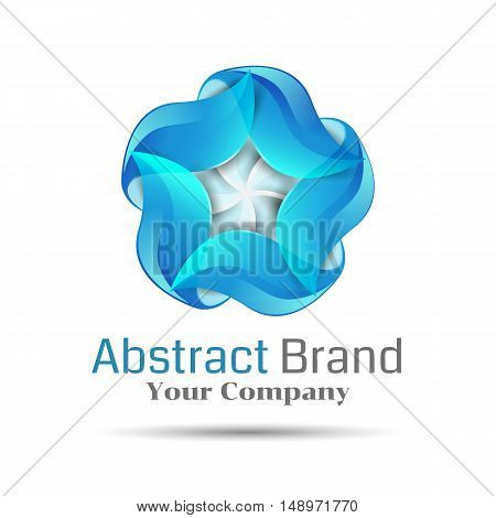 Blue swirl icon. Abstract glossy circle logo . Infinite sign. Vector design illustration. Template for your business company. Creative colorful concept.