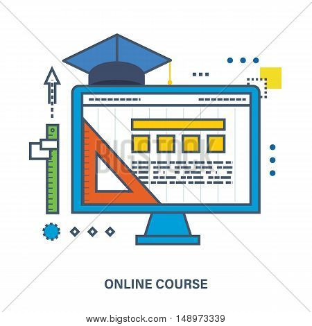 Back to school flat icons design. Set of distance education and corse program. Online course from universities and colleges proposes video-on-demand, forum, communication.