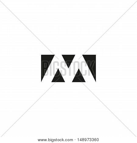 Letter M Logo Web Icon, Black And White Rectangle Geometric Shape From Triangles Emblem, Strict Limi