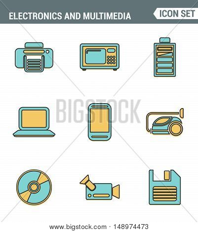 Icons line set premium quality of home electronics and personal multimedia devices. Modern pictogram collection flat design style. Isolated white background