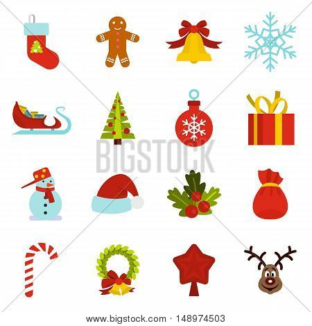 Christmas icons set in flat style. Xmas elements set collection vector illustration