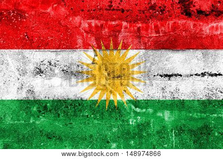Flag Of Kurdistan, Painted On Dirty Wall