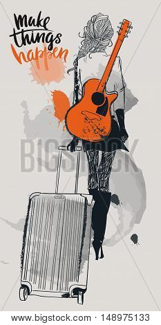 fashion beautiful girls with suitcases and guitar. Vector illustration