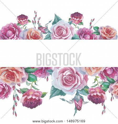 Wildflower rose flower frame in a watercolor style isolated. Full name of the plant: rose platyrhodon rosa. Aquarelle flower could be used for background texture pattern frame or border.