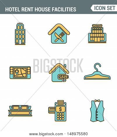 Icons line set premium quality of hotel service amenities rent house facilities. Modern pictogram collection flat design style symbol . Isolated white background