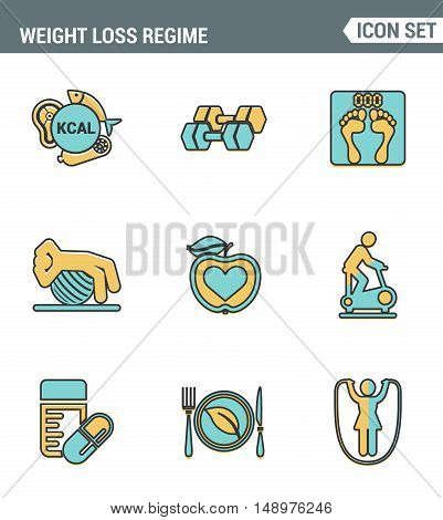 Icons line set premium quality of weight loss regime fitness gymnastics gum icon . Modern pictogram collection flat design style symbol . Isolated white background