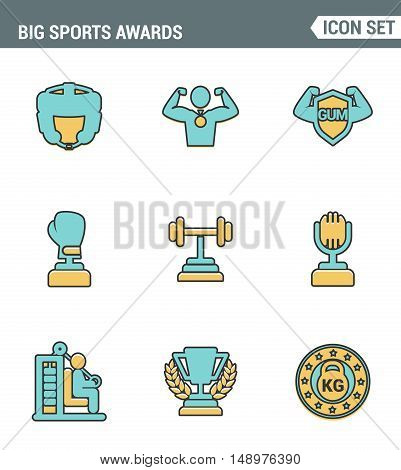 Icons line set premium quality of big sports awards championship champ winner cup sport victory. Modern pictogram collection flat design style symbol . Isolated white background