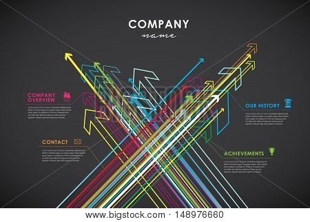 Company infographic overview design template with arrows and icons on dark background.