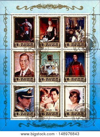 North Korea, 1984: British Dynasty on very rare North Korean postage stamp, circa 1984