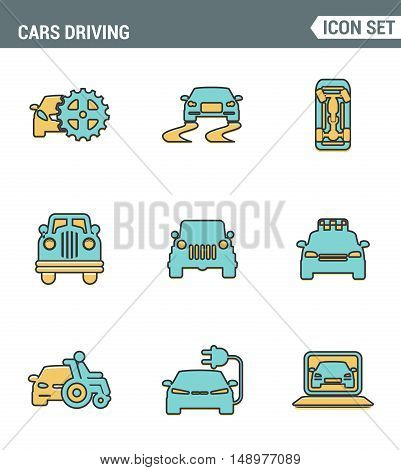 Icons line set premium quality of cars driving transportation transport car automobile. Modern pictogram collection flat design style symbol . Isolated white background