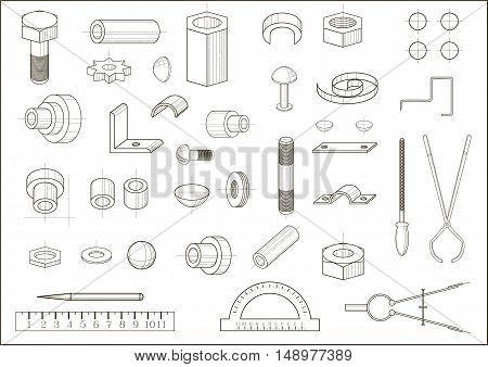 A set of images of different abstract metal parts and tools. The drawing in vector graphics