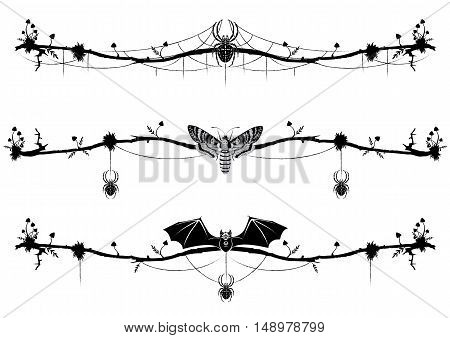 set of vignettes with bat butterfly death head spider and mushrooms in black and white