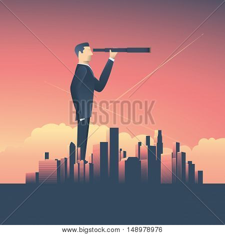 Vision concept in business with vector icon of businessman and telescope, monocular with corporate skyline cityscape background. Symbol leadership, strategy, mission, objectives. Eps10 vector.