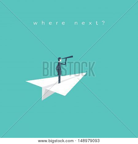 Businessman with monocular on a paper boat as a symbol of business leadership. Business concept of vision, mission or ambitions. Eps10 vector illustration