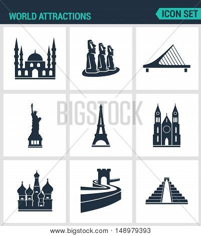 Set of modern vector icons. World attractions Mosque rapa nui Bridge Statue Eiffel Tower Church Wall Pyramid. Black signs on a white background. Design isolated symbols and silhouettes.