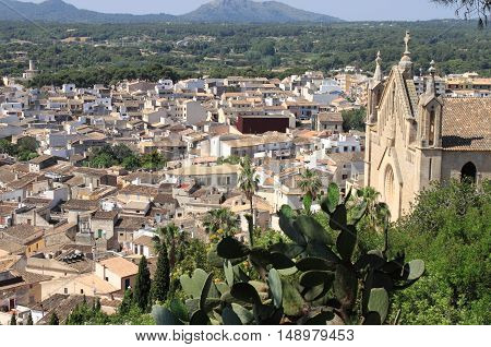 Panoramic view of the city of Arta in Mallorca Island. Spain