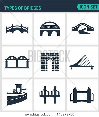 Set of modern vector icons. Types of bridges architecture construction. Black signs on a white background. Design isolated symbols and silhouettes.
