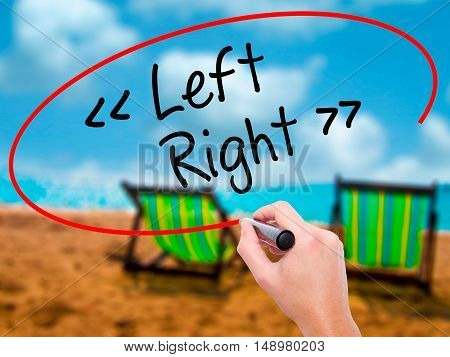 Man Hand Writing Left - Right With Black Marker On Visual Screen.