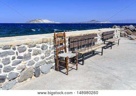 Resting place in the village of Mandraki Nisyros island Greece