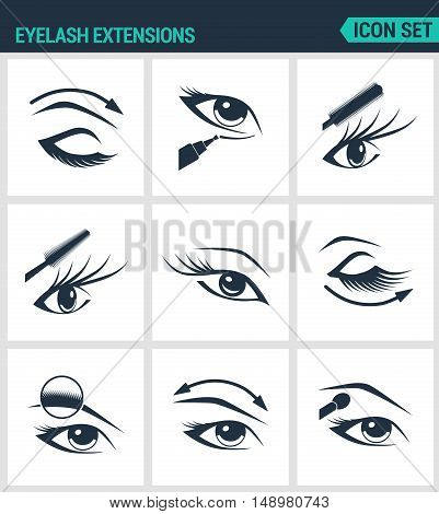 Set of modern vector icons. Eyelash extensions eyelashes eyes mascara eye shadow eyebrow eyeliner increase. Black signs on a white background. Design isolated symbols and silhouettes.