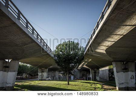 Bridge And Modern Street In Sant Cugat Del Valles