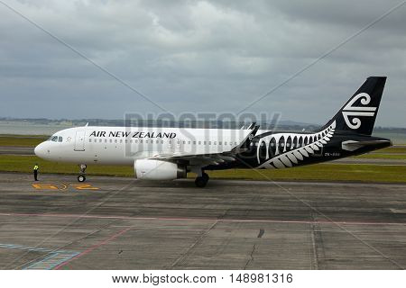 AUCKLAND, NEW ZEALAND - MARCH 7, 2016: Air New Zealand Airbus A320 airliner ready for departure at Auckland International Airport