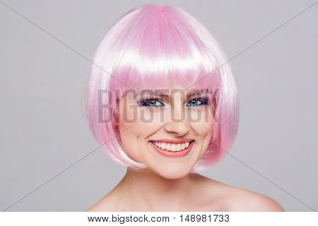 Young Pretty Girl In Pink Wig