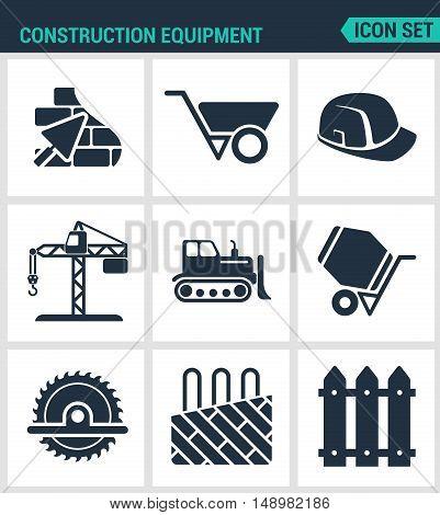 Set of modern vector icons. Construction equipment plaster wheelbarrow helmet crane bulldozer cement mixer saw insulated floor enclosure. Black signs white background. Design isolated symbols.