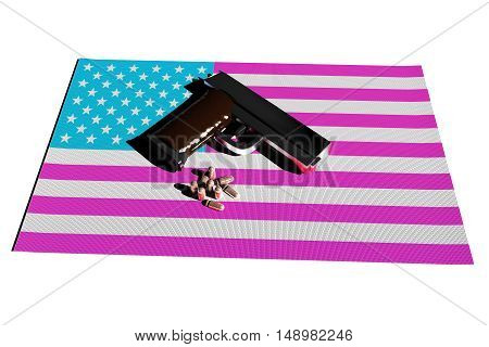 Pistol And Bullets Over Usa Flag