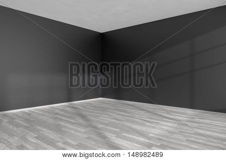 Black and white empty room corner with white hardwood parquet floor black walls and sunlight from window on the wall minimalist interior 3d illustration