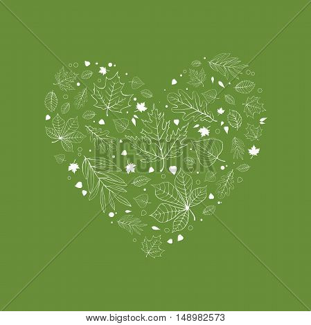 Autumn leaves heart design white outline on reen background
