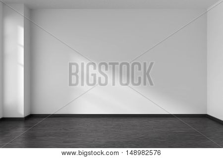 Black and white empty room with angle with black hardwood parquet floor white walls and sunlight from window on the wall minimalist interior 3d illustration