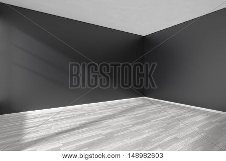 Corner of black and white empty room with white hardwood parquet floor black walls and sunlight from window on the wall minimalist interior 3d illustration