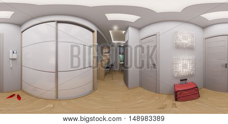 illustration spherical 360 degrees, seamless panorama hallway interior design. Modern studio apartment in the Scandinavian minimalist style