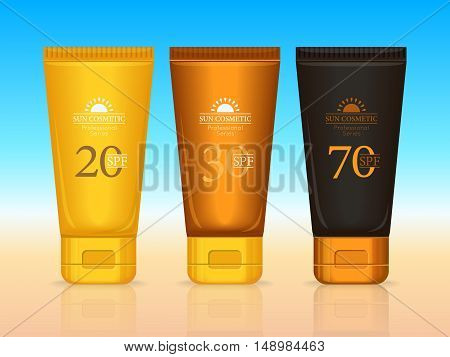 Set of sun cosmetics professional series. Suntan creams 20 SPF, 30 SPF, 70 SPF. Sunscreen protection. Cosmetic container cream icons in flat style. Part of series of decorative cosmetics items. Vector