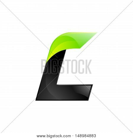L letter black and green logo design Fast speed design template elements for application.