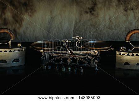 Antique Metallized Retro Iron And Scales