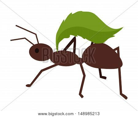 Brown ant with green leaf. Ant carrying leaf. Ant icon. Ant holding leaf. Insect icon. Termite icon. Isolated object in flat design on white background. Vector illustration.