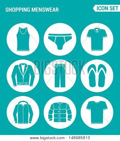 Vector set web icons. Shopping menswear T-shirt skirts pants sneakers leather jacket shirt Design of signs symbols on a turquoise background