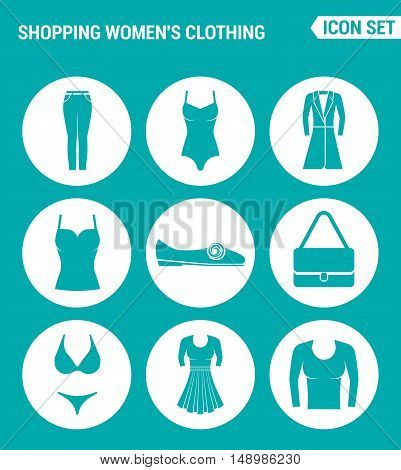 Vector set web icons. Shopping women clothing pants bathing suit coat shirt sneakers shoes bag dress skirt pullover. Design of signs symbols on a turquoise background
