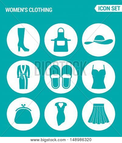 Vector set web icons. Women clothing shoes apron hat robe slippers T-shirt. purse dress skirt. Design of signs symbols on a turquoise background