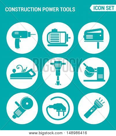 Vector set web icons. Construction Power Tools Drill perforator saw planer pneumatic hammer Angle grinder socket Lantern. Design of signs symbols on a turquoise background