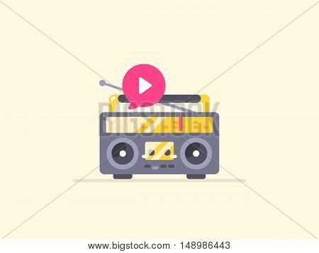 Boombox stereo icon. Icon for music, playback, podcast and other audio content content. Vector flat outline illustration.