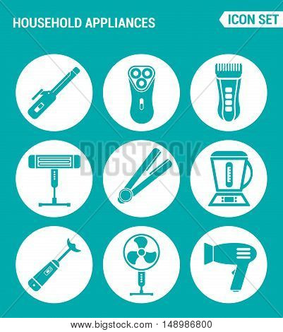 Vector set web icons. Household Appliances hair dryers curling irons electric shavers shaving machine heater blender food processor fan. Design signs symbols a turquoise background