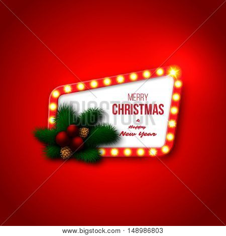 Christmas retro frame with realistic glowing lights pine branches red balls pine cones. Red color background. Merry Christmas and happy new year text. Vector illustration.