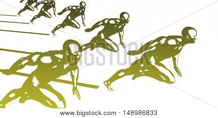 Sports Background with Athletes in Sporting Event