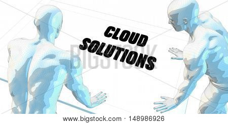 Cloud Solutions Discussion and Business Meeting Concept Art 3D Illustration Render